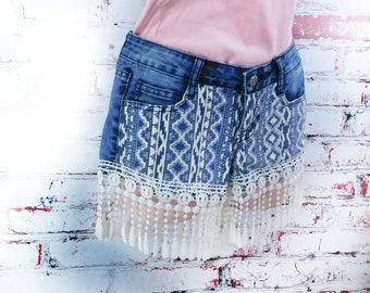 Aztic Tribal Short women -Upcycled Denim Jean Shorts, Distressed Denim Jean Shorts, Women Denim Shorts, Distressed Blue Jean Shorts,  # 31