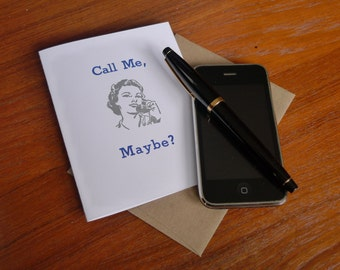 Call Me, Maybe Letterpress Greeting Card Blue Silver A2 with Envelope