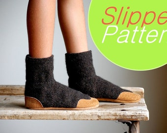 Wool Slipper Pattern, PDF Sewing Pattern, Kids sizes, Instant Download Tutorial, kids sizes 7.5, 9.5, 11.5, 13, 2.5