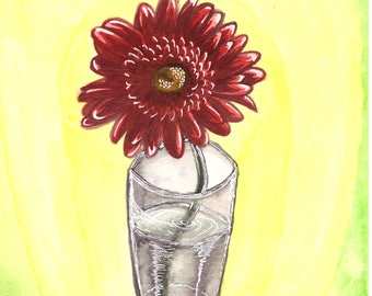 "Watercolor painting ""Red flower in glass"" A4"