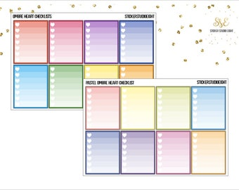 Multicolor: Ombre Heart Checklists