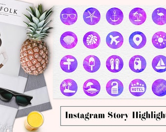 Watercolor Instagram Story Highlights, Travel Instagram Icons, Holiday Highlight Covers, Summer Instagram Content Icons, BUY12FOR15