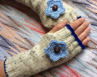 Hand knit aran fingerless gloves, wrist warmers, fingerless mittens, winter accessories, winter gloves.