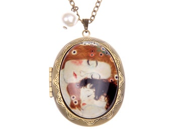 Mother and Child Gustav Klimt locket Necklace (3040m)
