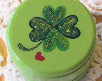 Hand Painted Love Boxes Four Leaf Clover Lucky in Love Green Box Wood