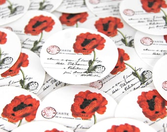 Stickers Envelope Seals Red Poppy Stickers set of 24 1.5 inch round