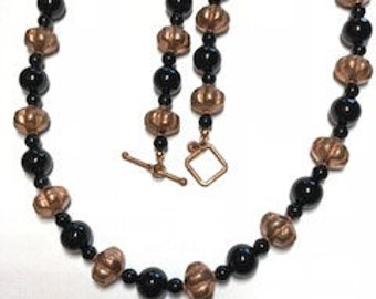 Onyx and copper necklace