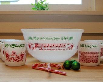 "Vintage Hazel Atlas Milk Glass Auld Lang Syne Tom & Jerry Set, Bowl and 6 Mugs — ""We'll Drink a Cup of Kindness Yet..."""
