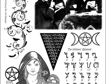 Witch Time, Pagan, Goddess, Witch Alphabet - Set of unmounted rubber stamps by Cherry Pie - Plate 58