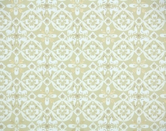 1940s Vintage Wallpaper by the Yard - White Geometric on Yellow