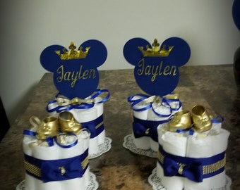 Mini royal mickey mouse diaper cakes personalized