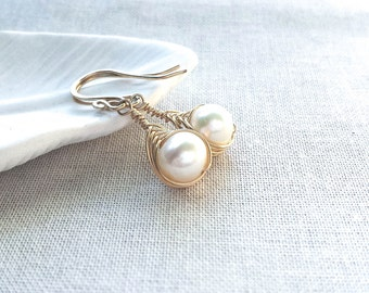 14k Gold Woven Freshwater Pearl Drops: 14k Gold Filled Herringbone Modern Woven Wire Earrings with Freshwater Pearls Valentine's Day Gift