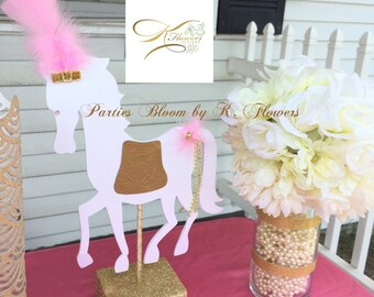 White Horse Centerpiece/ Princess Horse/ Princess Centerpiece