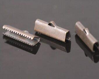 30 pcs 6x19 mm antique copper tone ribbon crimp ends, ribbon crimp end, ribbon crimp ends cap, with loop findings AC23 1781