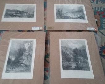 4 Vintage North American Landscape Prints 19th Century Steel Engravings