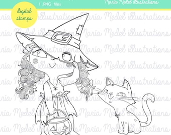 Halloween digital stamp for scapbooking, cardmaking and other crafts- little witch and cat