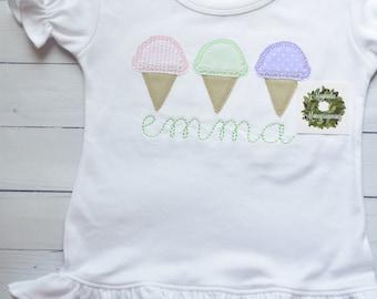 Girls Ice Cream Applique Shirt, Ice Cream Applique Shirt for Girls, Summer Ice Cream Applique Shirt, Ice Cream Cone Applique Shirt for Girls