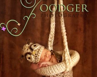 Crochet Hanging Basket Photography Prop for Newborns
