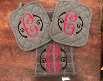 Monogrammed Potholders and Kitchen Towel