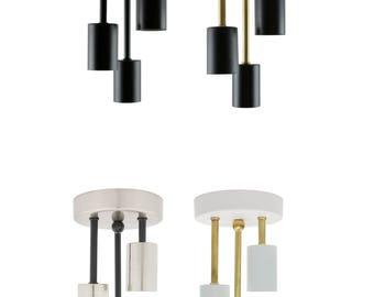 Triple Flush Mount Ceiling Light - Three Bulb Ceiling Mount light - Minimalist Lamp - Industrial Ceiling Fixture - 3 Bulb Semi Flush Light