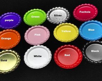 50pcs Colored Flattened Flat Silver Linerless Bottle Caps, no hole, Flattened Chrome Bottle caps Bottle Cap,