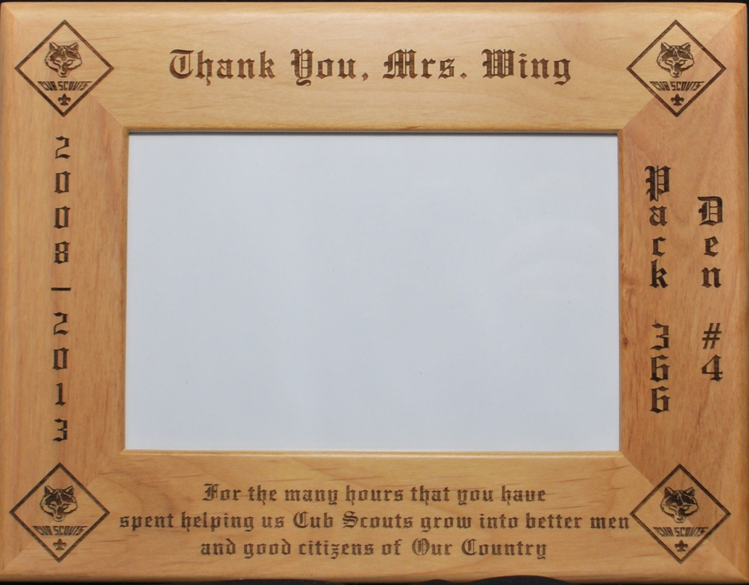 Cub scout boy scout thank you picture frame holds 8x10 picture zoom jeuxipadfo Image collections