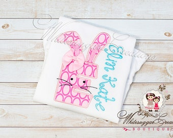 Easter Girly Bunny Alpha Appliqued Shirt - Custom Initial with Bunny Personalized shirt - Toddler Girls Easter Shirt Kids Easter Clothes