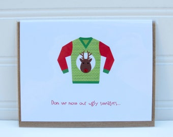 Ugly Sweater Card, Christmas Sweater Card, Funny Christmas Card, Funny Holiday Card, Card for Coworker, Card for Boss, Card for Friend, BFF
