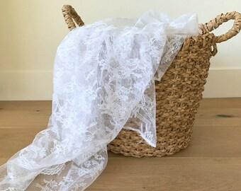 """Vintage Lace Fabric, White Floral Bouquet 46"""" X 44.5"""""""