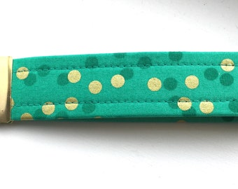 Ombré Teal Gold  Dots Key Chain Wristlet Key Fob Gold Colored Hardware Unique Wristlet Key Fob Ombre Confetti Fabric