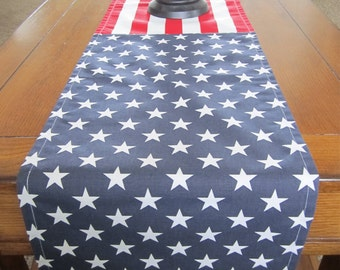 Stars and Stripes Table Runner, Fourth of July Table Runner, Red White and Blue, Summer Table Decor, Fourth of July Party Decor