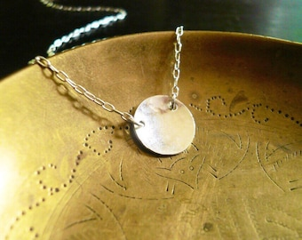 Silver Coin Necklace. Sterling Silver Necklace Silver Circle Necklace. Hammered Silver Disc Necklace. Small Sterling Silver Circle Necklace.