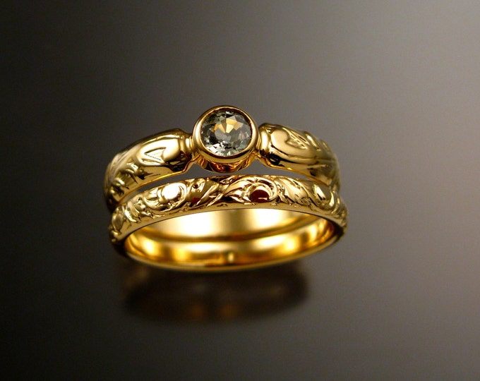Green Sapphire Wedding set 14k Yellow Gold Victorian floral pattern Green Diamond substitute ring made to order in your size
