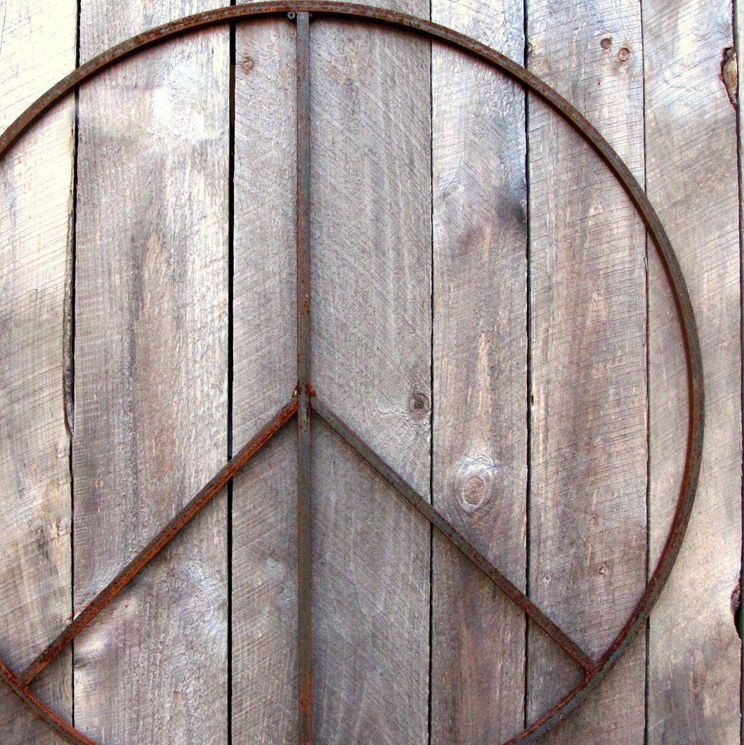 42 inch Giant Metal Peace Sign Wreath Wall Art indoor or
