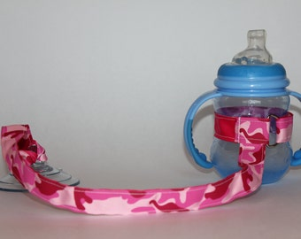 Sippy Cup Leash, Sippy Cup Strap, Suction Sippy Strap, Toddler Gift, Christmas Gift, Birthday Gift - Pink Camouflage