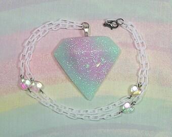 Pastel Goth Necklace, Fairy Kei Necklace, Pop Kei Necklace, Holographic Diamond Necklace, Pastel Grunge Necklace, Decora Necklace