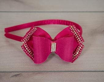Hot Pink Headband, Pink Hair Band, Girl Headband, Bow Headband, Dressy Headband, Satin Headband, Dressy Hairband, Hot Pink Tiara