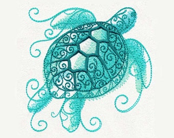Sea Turtle Aqua Marine Tea Towel | Embroidered Kitchen Towel | Embroidered Tea Towel | Personalized Kitchen Towel | Bathroom Decor | Bath