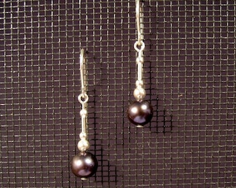 Sterling Silver Black Freshwater Pearl Dangle Earrings