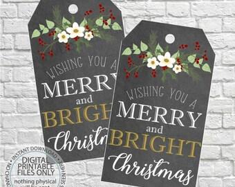 Printable Christmas Tags, Christmas Gift Tags, Chalkboard Christmas Tags, Christmas Printable Tags, DIY Christmas, Winter Gift Tags, Rustic