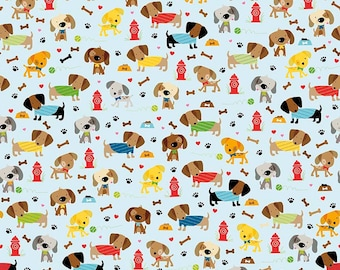 Dog fabric, Rover dog park blue, knit, cotton lycra, boys blue dog fabric, baby dog fabric, knit dog fabric, riley blake dog fabric, blue