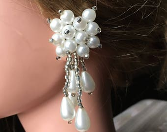 "Vintage 70's  ""CLiP ON DANGLES"" Bold & Beautiful Pearl Look with Glass Look Baguette Beads"