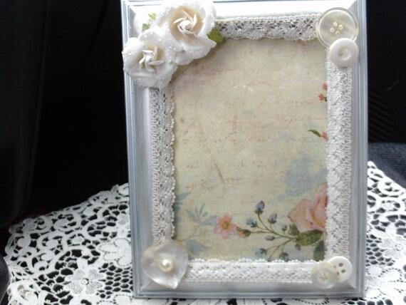 Shabby Chic Lace Frame Handmade Frame Silver Frame Custom