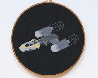Y-Wing Cross Stitch Pattern, Modern Star Wars Pattern, StarWars Cross Stitch Easy Chart, Republic Starfighter, PDF Format, Instant Download