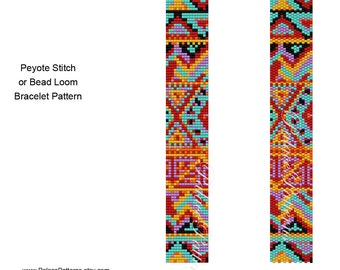 Tribal Narrow 7 Peyote Stitch and Bead Loom Bracelet Pattern, Delica Bead Bracelet Pattern, Southwest Bracelet Pattern
