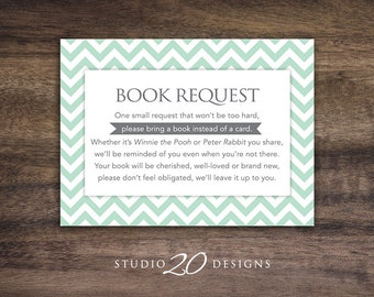 Instant Download Mint Chevron Book Request, Mint Green Book in Lieu of Card, Mint Grey Chevron Baby Shower Book Instead of Card 60C