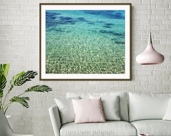 "Beach Wall Art - Turquoise Blue Water - Ocean Print - Greece Photograph - Aqua Teal Blue - Bathroom Decor ""Aegean Beauty"""