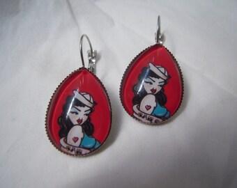 Women tattoo earrings