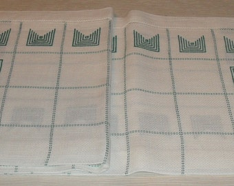 Tablecloth Cross Stitch Finished Embroidered Tablecloth Handmade White Linen Canvas Cross Stitch Hemstitch Finished
