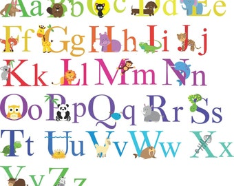Animals theme alphabet colour vinyl wall stickers nursery playroom classroom removable printed to order upper & lower case